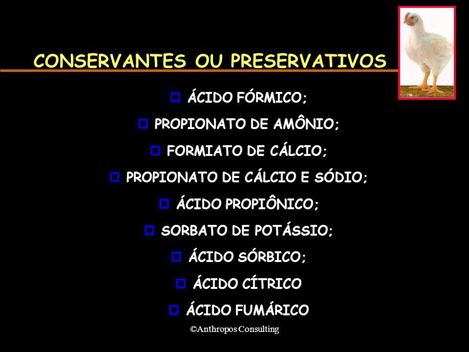 ©Anthropos Consulting CONSERVANTES OU PRESERVATIVOS pÁCIDO FÓRMICO; pPROPIONATO DE AMÔNIO; pFORMIATO DE CÁLCIO; pPROPIONATO DE CÁLCIO E SÓDIO; pÁCIDO PROPIÔNICO; pSORBATO DE POTÁSSIO; pÁCIDO SÓRBICO; pÁCIDO CÍTRICO pÁCIDO FUMÁRICO