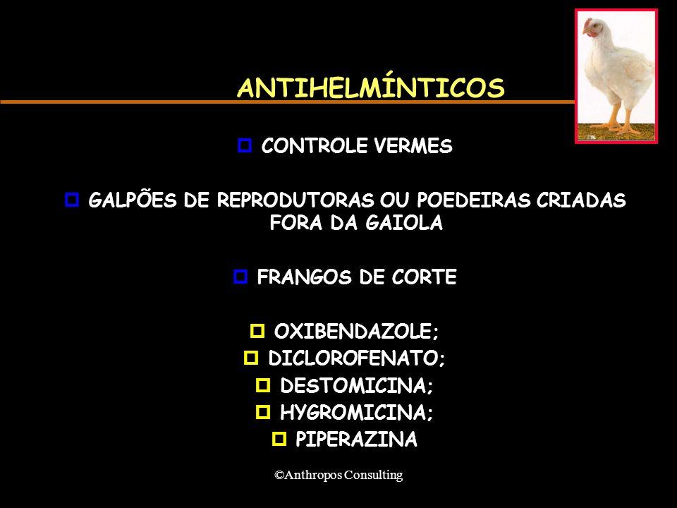 ©Anthropos Consulting ANTIHELMÍNTICOS pCONTROLE VERMES pGALPÕES DE REPRODUTORAS OU POEDEIRAS CRIADAS FORA DA GAIOLA pFRANGOS DE CORTE pOXIBENDAZOLE; pDICLOROFENATO; pDESTOMICINA; pHYGROMICINA; pPIPERAZINA