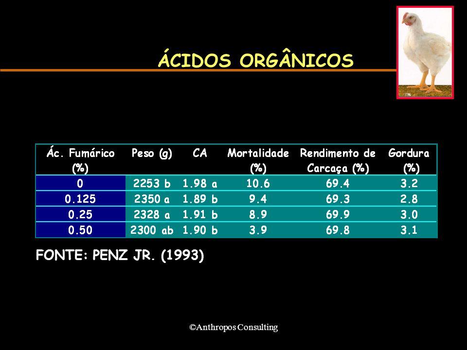 ©Anthropos Consulting ÁCIDOS ORGÂNICOS FONTE: PENZ JR. (1993)