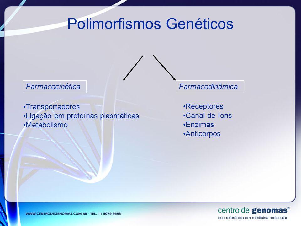 Polimorfismos Genéticos FarmacocinéticaFarmacodinâmica Transportadores Ligação em proteínas plasmáticas Metabolismo Receptores Canal de íons Enzimas A