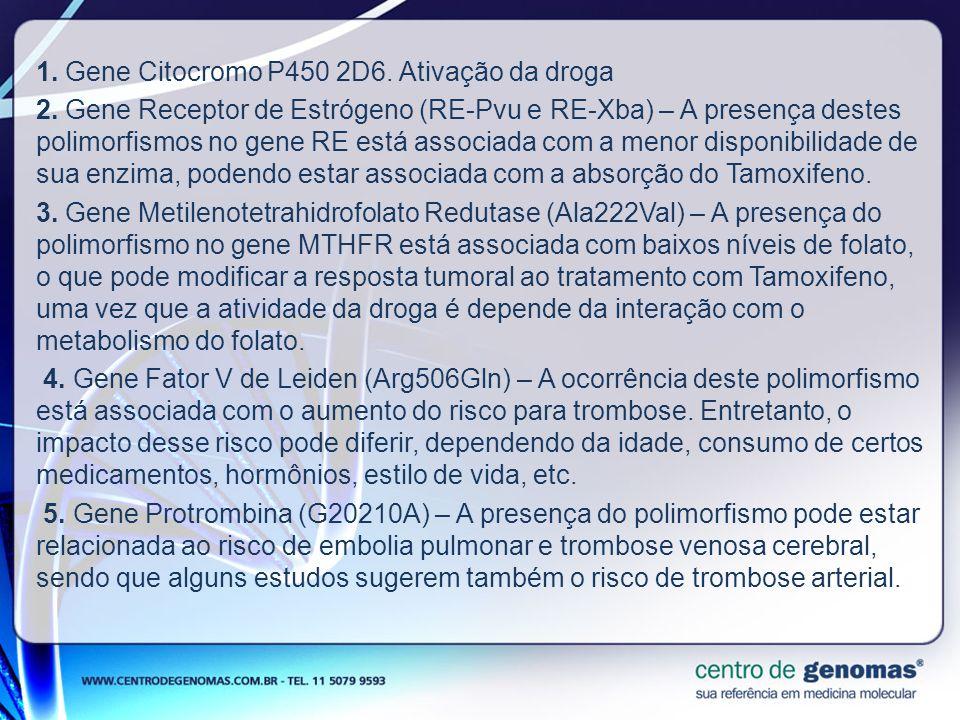 1. Gene Citocromo P450 2D6. Ativação da droga 2. Gene Receptor de Estrógeno (RE-Pvu e RE-Xba) – A presença destes polimorfismos no gene RE está associ