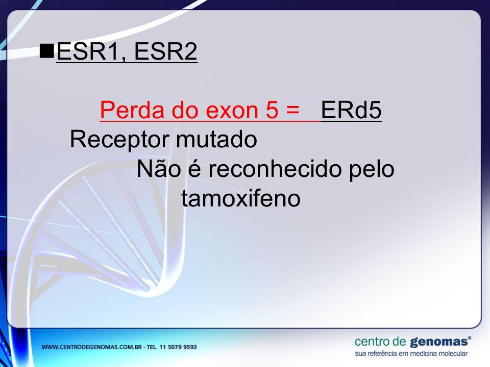 ESR1, ESR2 Perda do exon 5 = ERd5 Receptor mutado Não é reconhecido pelo tamoxifeno