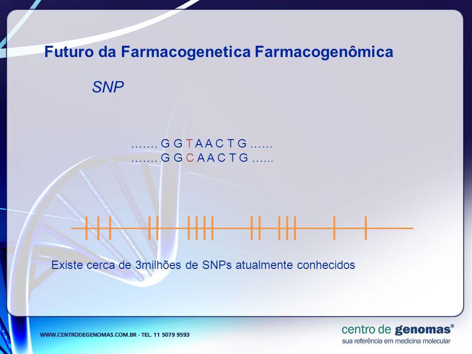 Futuro da Farmacogenetica Farmacogenômica SNP ……. G G T A A C T G …… ……. G G C A A C T G …... Existe cerca de 3milhões de SNPs atualmente conhecidos