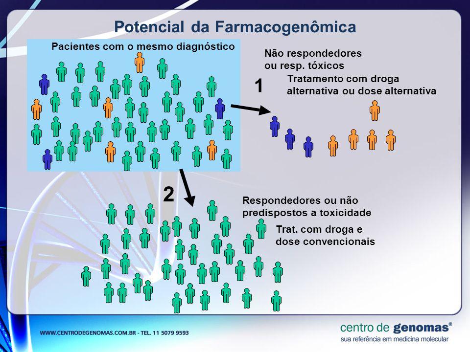 Potencial da Farmacogenômica Pacientes com o mesmo diagnóstico 1 2 Respondedores ou não predispostos a toxicidade Não respondedores ou resp. tóxicos T