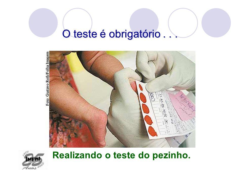 O teste é obrigatório... Realizando o teste do pezinho.