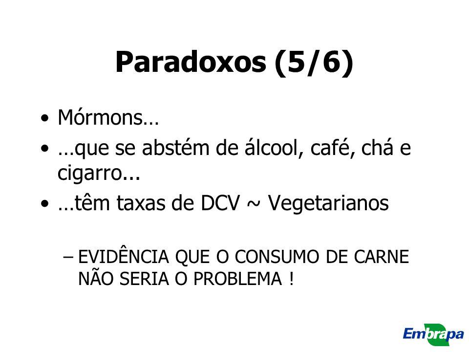 Paradoxos (5/6) Mórmons… …que se abstém de álcool, café, chá e cigarro... …têm taxas de DCV ~ Vegetarianos –EVIDÊNCIA QUE O CONSUMO DE CARNE NÃO SERIA