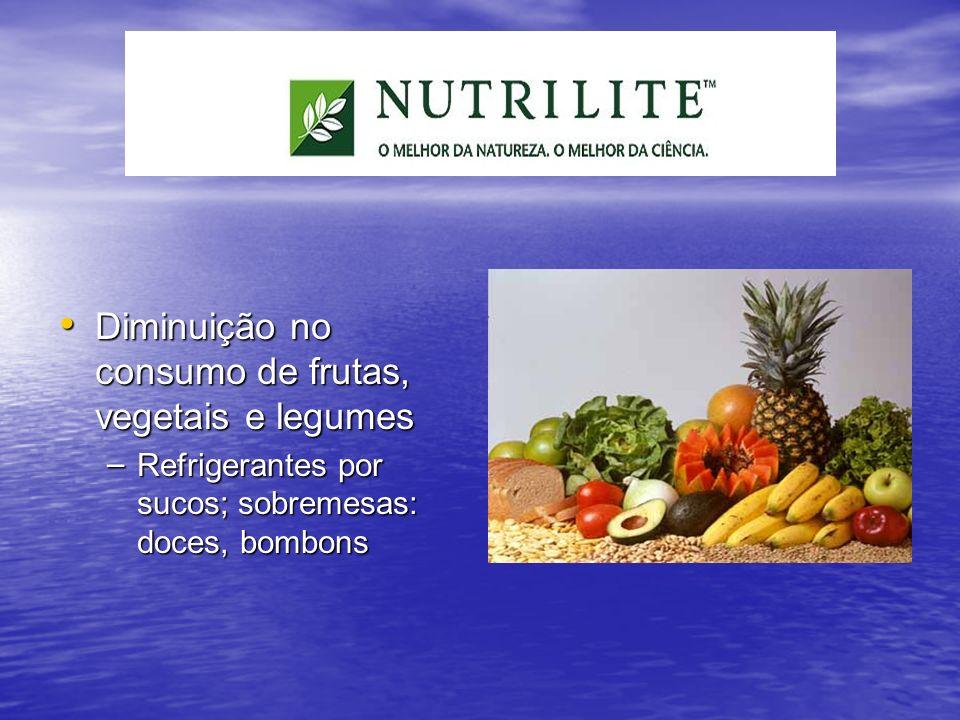 Diminuição no consumo de frutas, vegetais e legumes Diminuição no consumo de frutas, vegetais e legumes – Refrigerantes por sucos; sobremesas: doces,