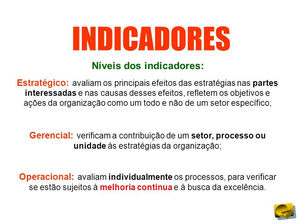 INDICADORES Níveis dos indicadores: Estratégico: avaliam os principais efeitos das estratégias nas partes interessadas e nas causas desses efeitos, re