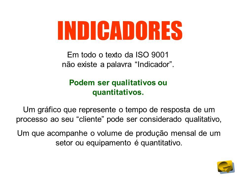 INDICADORES Em todo o texto da ISO 9001 não existe a palavra Indicador. Podem ser qualitativos ou quantitativos. Um gráfico que represente o tempo de