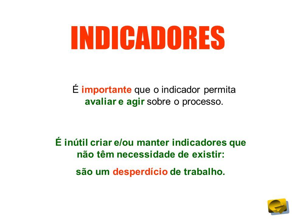 INDICADORES É importante que o indicador permita avaliar e agir sobre o processo. É inútil criar e/ou manter indicadores que não têm necessidade de ex
