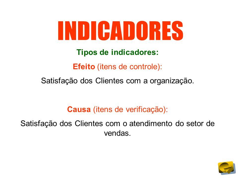 INDICADORES Tipos de indicadores: Efeito (itens de controle): Satisfação dos Clientes com a organização. Causa (itens de verificação): Satisfação dos