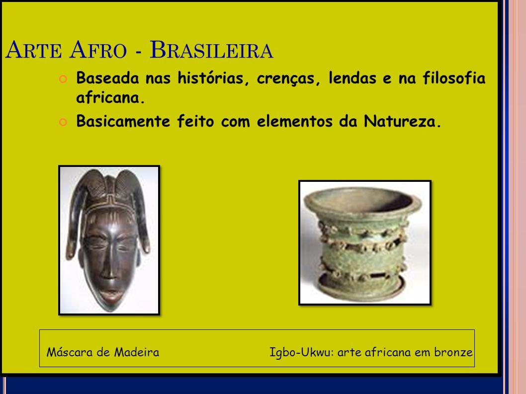 A RTE A FRO - B RASILEIRA Baseada nas histórias, crenças, lendas e na filosofia africana. Basicamente feito com elementos da Natureza. Máscara de Made