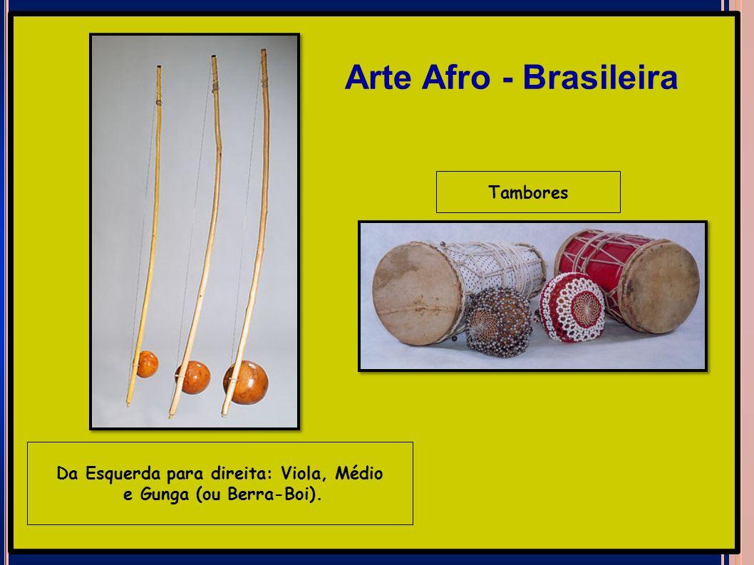 Da Esquerda para direita: Viola, Médio e Gunga (ou Berra-Boi). Tambores Arte Afro - Brasileira