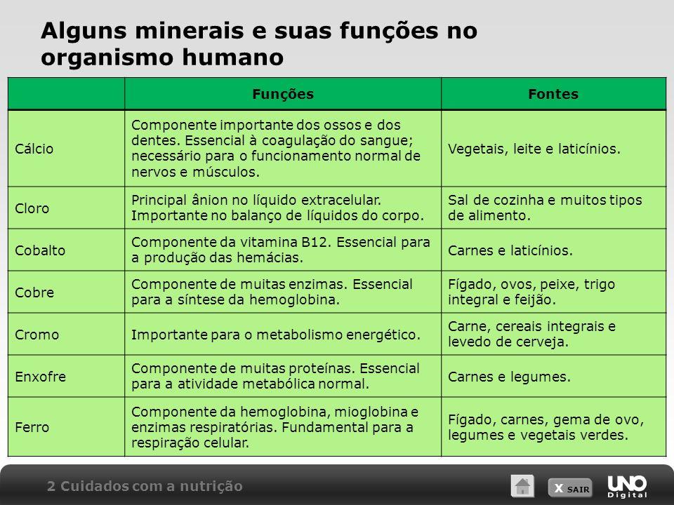 X SAIR Alguns minerais e suas funções no organismo humano FunçõesFontes Cálcio Componente importante dos ossos e dos dentes.