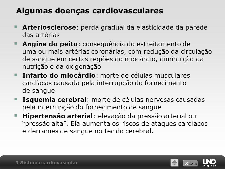 X SAIR Algumas doenças cardiovasculares Arteriosclerose: perda gradual da elasticidade da parede das artérias Angina do peito: consequência do estreitamento de uma ou mais artérias coronárias, com redução da circulação de sangue em certas regiões do miocárdio, diminuição da nutrição e da oxigenação Infarto do miocárdio: morte de células musculares cardíacas causada pela interrupção do fornecimento de sangue Isquemia cerebral: morte de células nervosas causadas pela interrupção do fornecimento de sangue Hipertensão arterial: elevação da pressão arterial ou pressão alta.