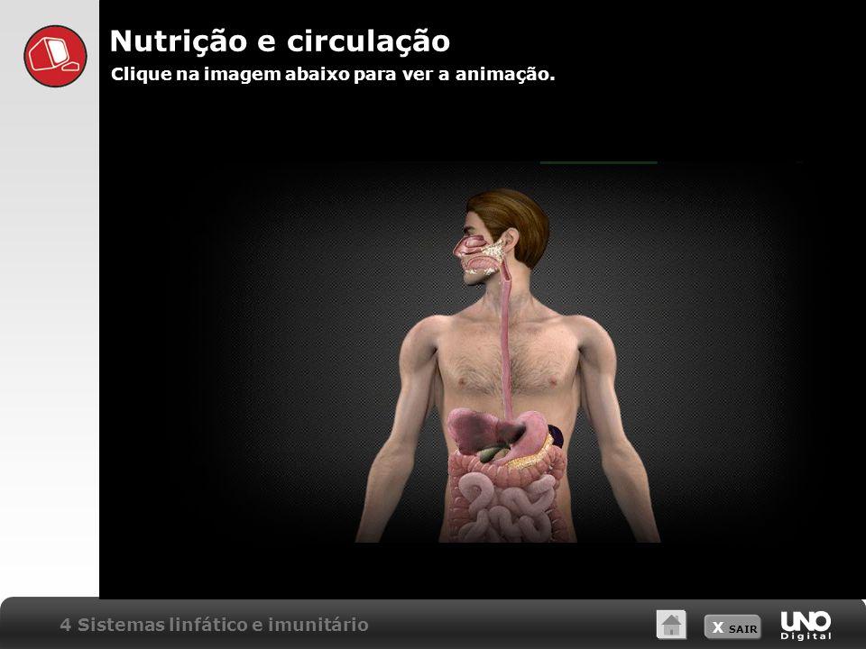 X SAIR 4 Sistemas linfático e imunitário Nutrição e circulação Clique na imagem abaixo para ver a animação.