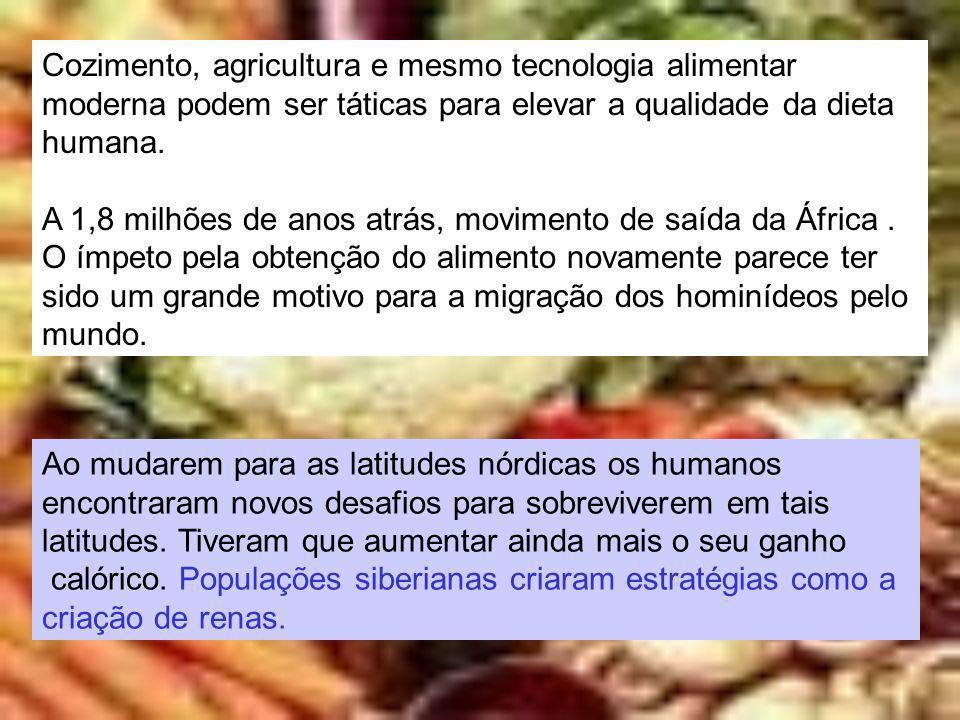 Cozimento, agricultura e mesmo tecnologia alimentar moderna podem ser táticas para elevar a qualidade da dieta humana. A 1,8 milhões de anos atrás, mo