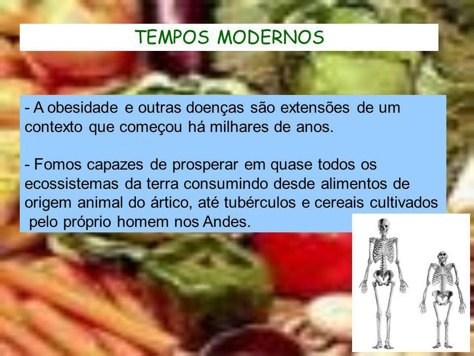 TEMPOS MODERNOS - A obesidade e outras doenças são extensões de um contexto que começou há milhares de anos. - Fomos capazes de prosperar em quase tod