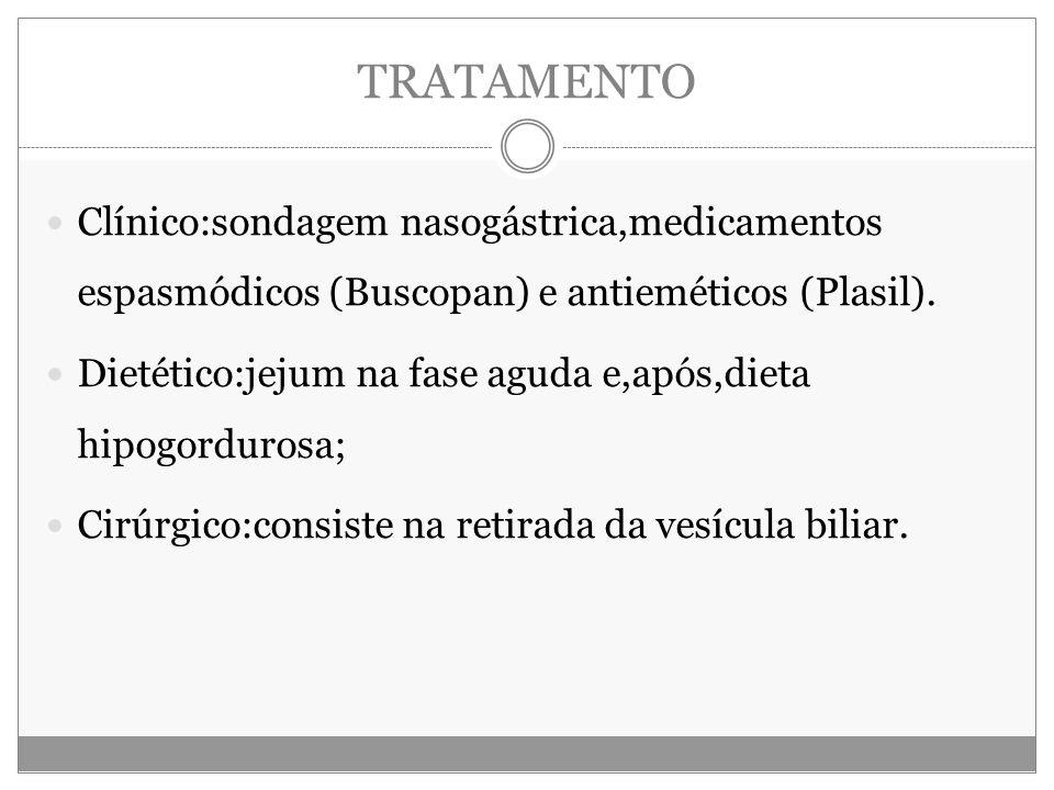 TRATAMENTO Clínico:sondagem nasogástrica,medicamentos espasmódicos (Buscopan) e antieméticos (Plasil).