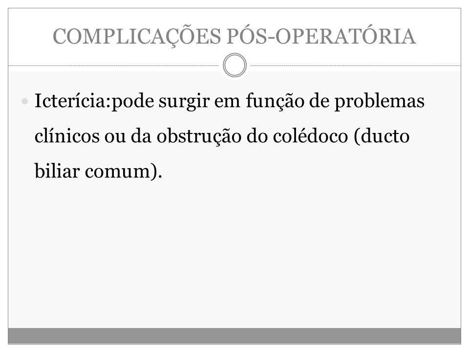 COMPLICAÇÕES PÓS-OPERATÓRIA Icterícia:pode surgir em função de problemas clínicos ou da obstrução do colédoco (ducto biliar comum).