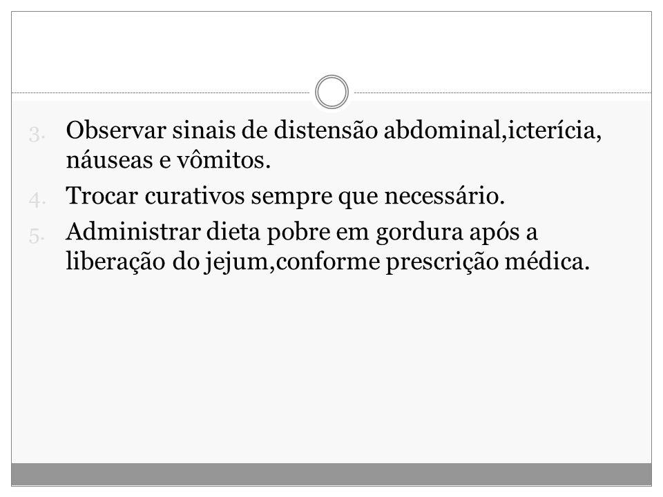 3.Observar sinais de distensão abdominal,icterícia, náuseas e vômitos.