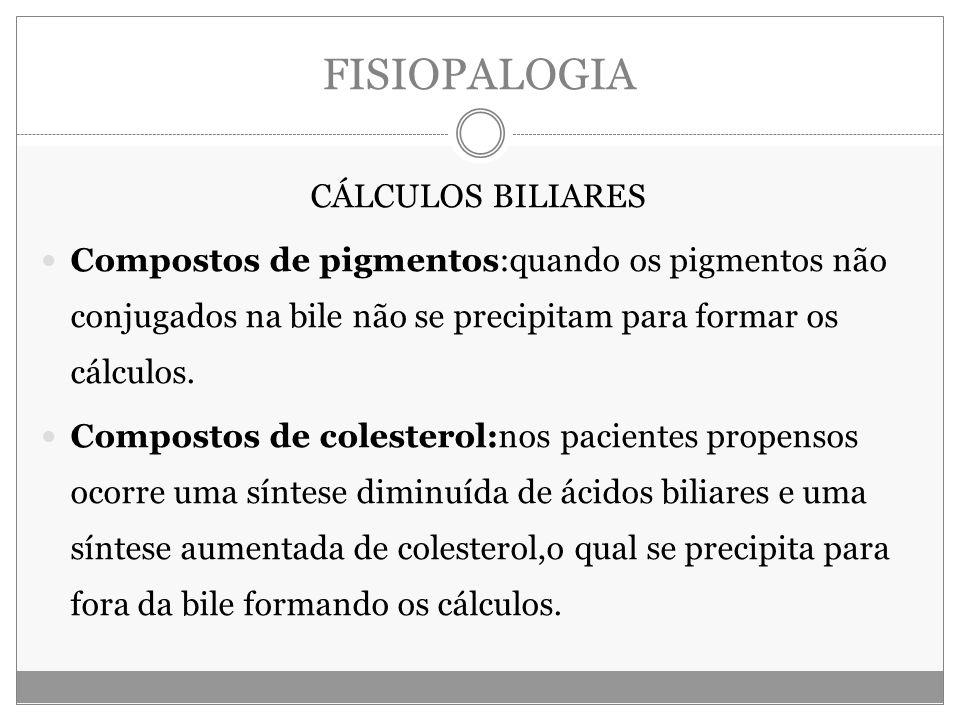 FISIOPALOGIA CÁLCULOS BILIARES Compostos de pigmentos:quando os pigmentos não conjugados na bile não se precipitam para formar os cálculos.