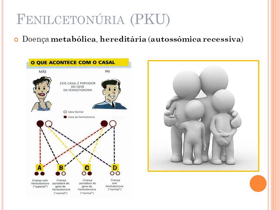 F ENILCETONÚRIA (PKU) Doença metabólica, hereditária ( autossómica recessiva )