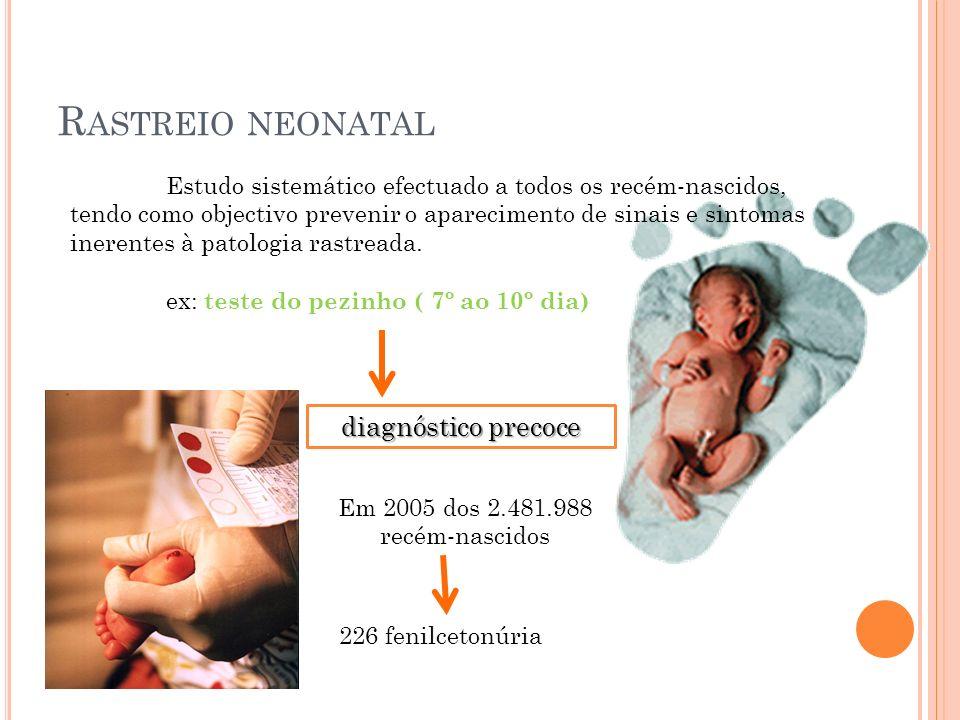 R ASTREIO NEONATAL Estudo sistemático efectuado a todos os recém-nascidos, tendo como objectivo prevenir o aparecimento de sinais e sintomas inerentes