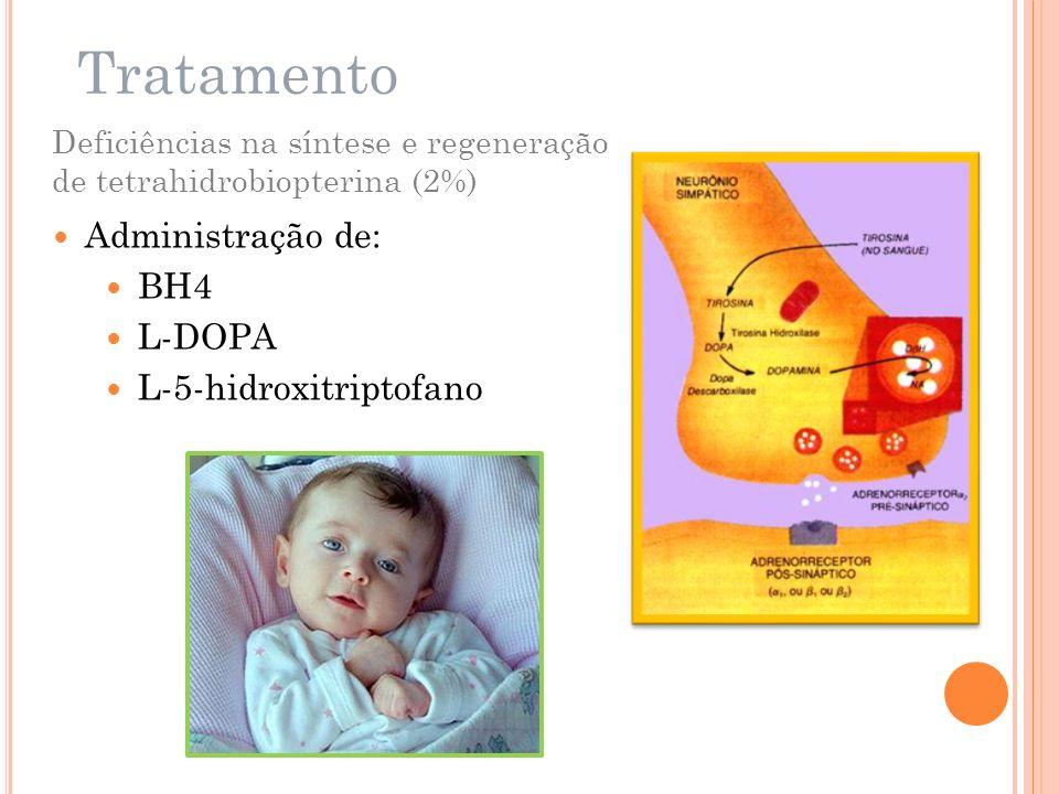 Tratamento Deficiências na síntese e regeneração de tetrahidrobiopterina (2%) Administração de: BH4 L-DOPA L-5-hidroxitriptofano