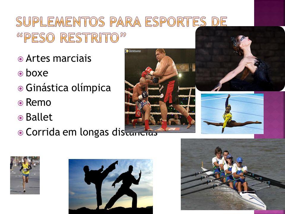 Artes marciais boxe Ginástica olímpica Remo Ballet Corrida em longas distâncias