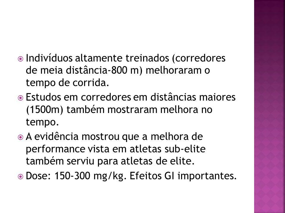 Indivíduos altamente treinados (corredores de meia distância-800 m) melhoraram o tempo de corrida. Estudos em corredores em distâncias maiores (1500m)