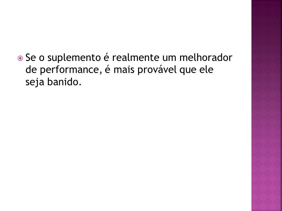 Se o suplemento é realmente um melhorador de performance, é mais provável que ele seja banido.