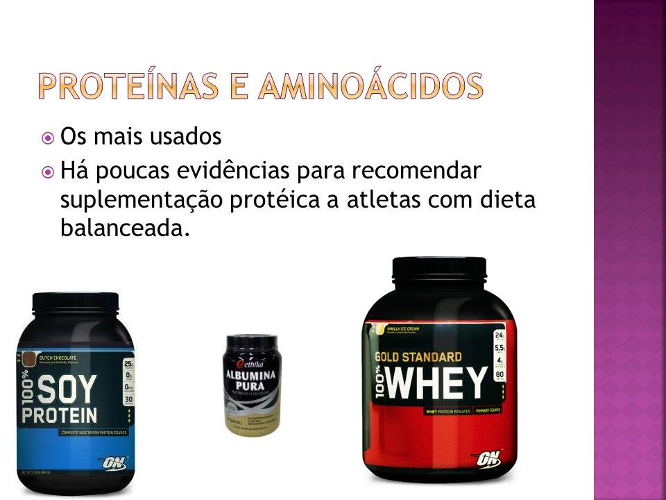 Os mais usados Há poucas evidências para recomendar suplementação protéica a atletas com dieta balanceada.