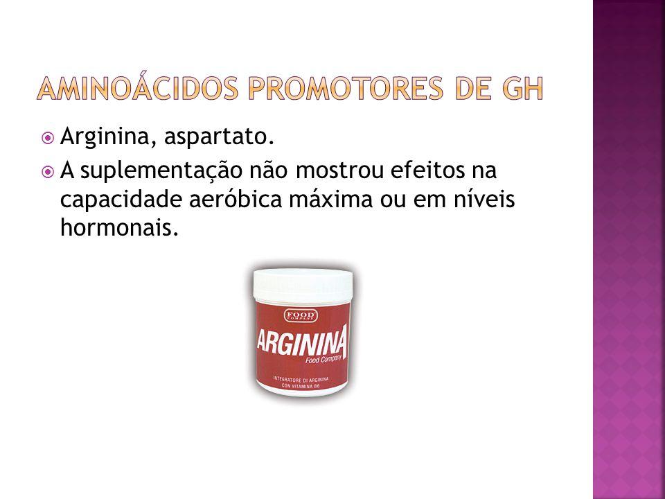 Arginina, aspartato. A suplementação não mostrou efeitos na capacidade aeróbica máxima ou em níveis hormonais.