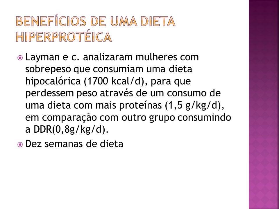 Layman e c. analizaram mulheres com sobrepeso que consumiam uma dieta hipocalórica (1700 kcal/d), para que perdessem peso através de um consumo de uma
