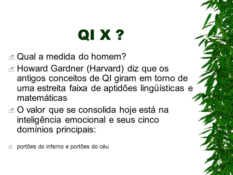 QI X ? Qual a medida do homem? Howard Gardner (Harvard) diz que os antigos conceitos de QI giram em torno de uma estreita faixa de aptidões lingüístic