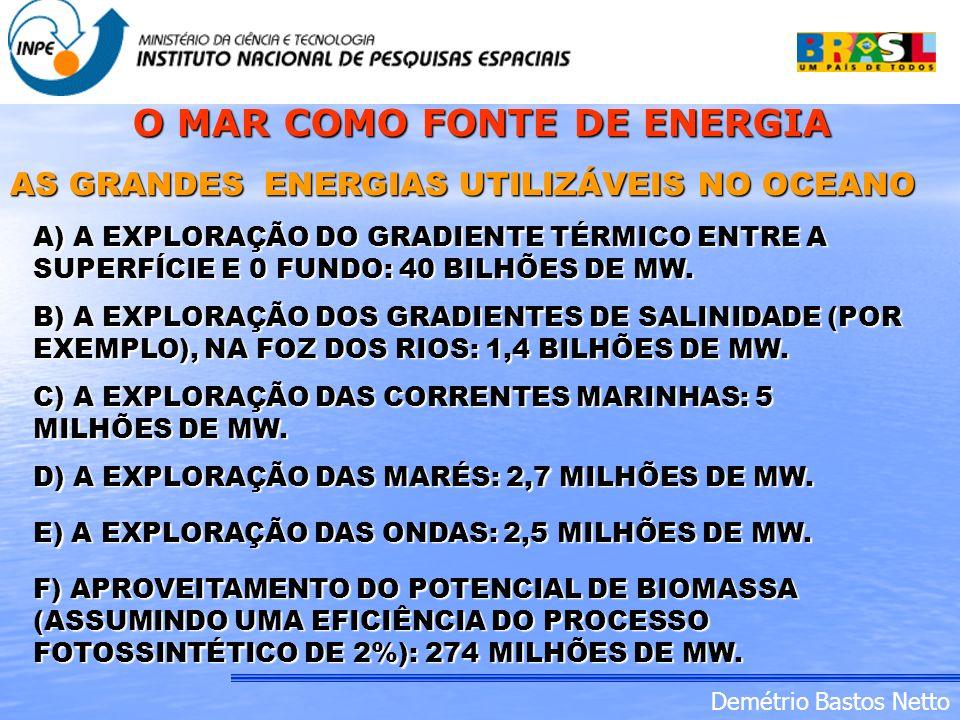 Demétrio Bastos Netto AS GRANDES ENERGIAS UTILIZÁVEIS NO OCEANO A) A EXPLORAÇÃO DO GRADIENTE TÉRMICO ENTRE A SUPERFÍCIE E 0 FUNDO: 40 BILHÕES DE MW. B