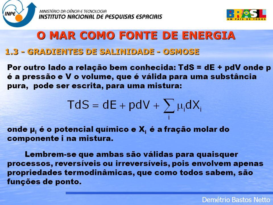 Demétrio Bastos Netto Por outro lado a relação bem conhecida: TdS = dE + pdV onde p é a pressão e V o volume, que é válida para uma substância pura, p