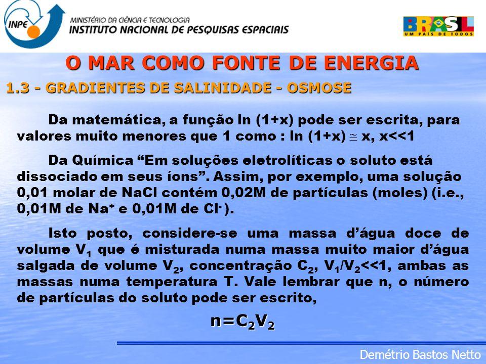 Demétrio Bastos Netto Da matemática, a função ln (1+x) pode ser escrita, para valores muito menores que 1 como : ln (1+x) x, x<<1 1.3 - GRADIENTES DE