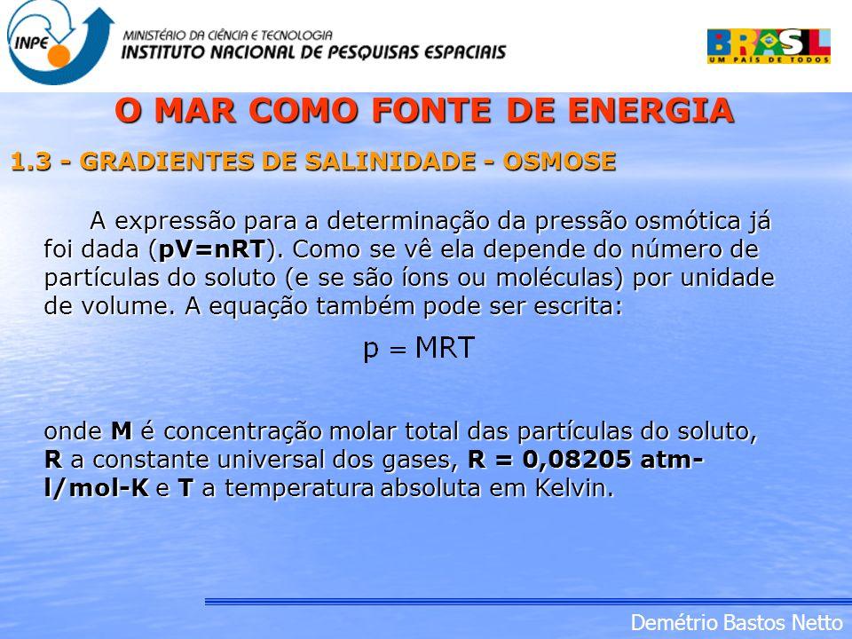 Demétrio Bastos Netto A expressão para a determinação da pressão osmótica já foi dada (pV=nRT). Como se vê ela depende do número de partículas do solu