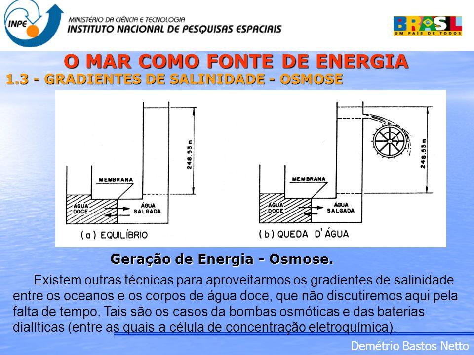 Demétrio Bastos Netto 1.3 - GRADIENTES DE SALINIDADE - OSMOSE Geração de Energia - Osmose. Existem outras técnicas para aproveitarmos os gradientes de