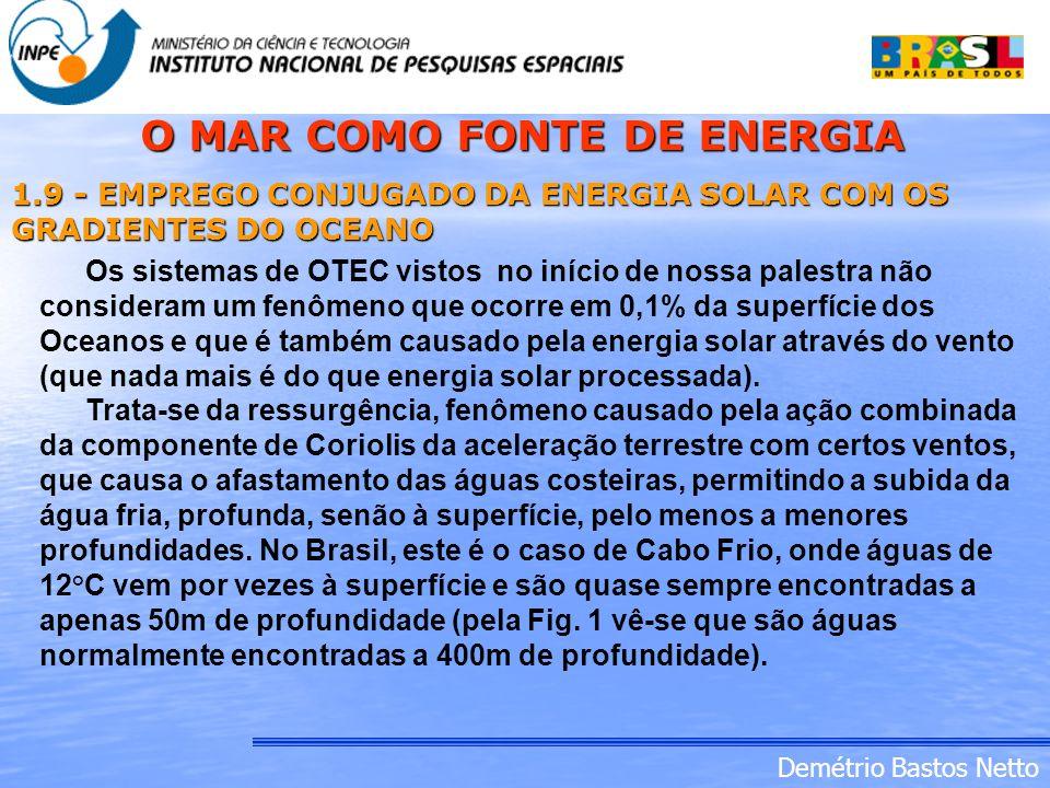 Demétrio Bastos Netto 1.9 - EMPREGO CONJUGADO DA ENERGIA SOLAR COM OS GRADIENTES DO OCEANO Os sistemas de OTEC vistos no início de nossa palestra não
