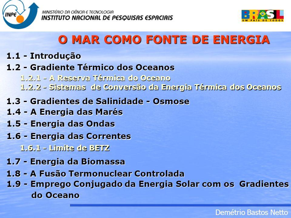 Demétrio Bastos Netto 1.1 - Introdução 1.2 - Gradiente Térmico dos Oceanos 1.2.1 - A Reserva Térmica do Oceano 1.2.2 - Sistemas de Conversão da Energi