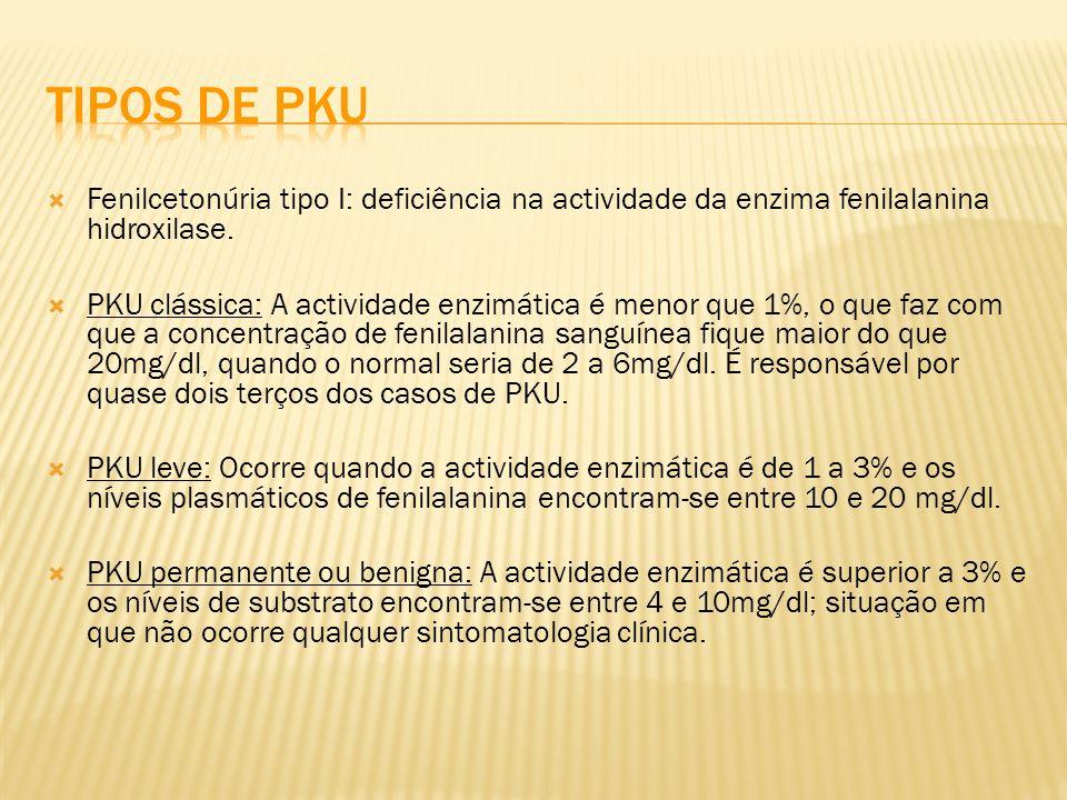 Fenilcetonúria tipo I: deficiência na actividade da enzima fenilalanina hidroxilase. PKU clássica: A actividade enzimática é menor que 1%, o que faz c