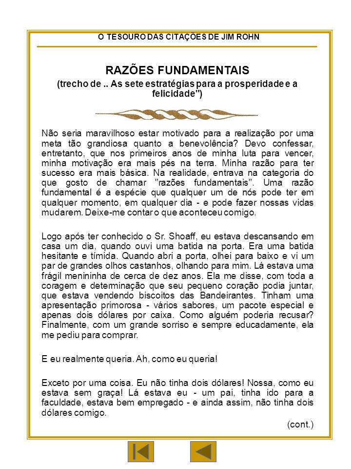 O TESOURO DAS CITAÇÕES DE JIM ROHN RAZÕES FUNDAMENTAIS (trecho de..