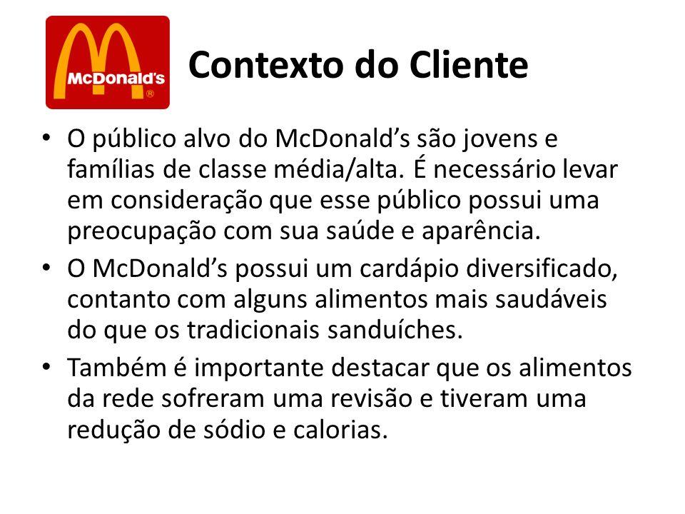 Contexto do Cliente O público alvo do McDonalds são jovens e famílias de classe média/alta. É necessário levar em consideração que esse público possui