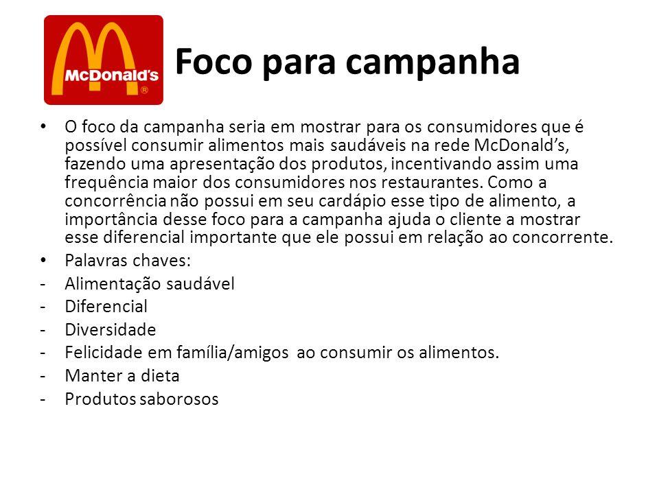 Foco para campanha O foco da campanha seria em mostrar para os consumidores que é possível consumir alimentos mais saudáveis na rede McDonalds, fazend