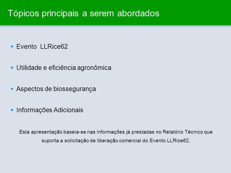 Tópicos principais a serem abordados Evento LLRice62 Utilidade e eficiência agronômica Aspectos de biossegurança Informações Adicionais Esta apresenta