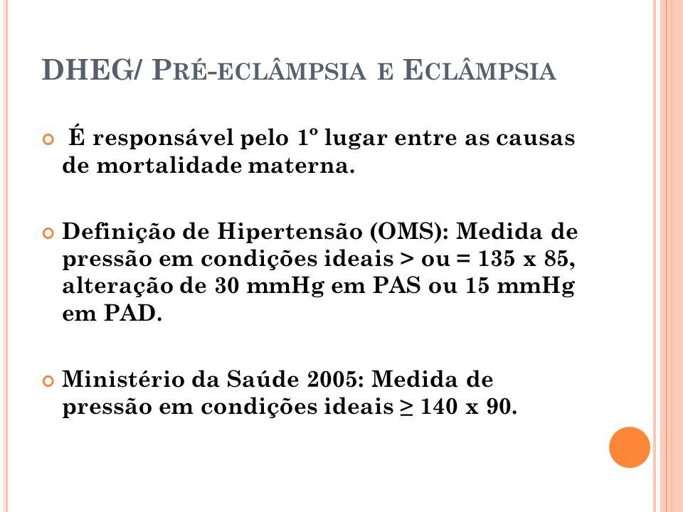 DHEG/ P RÉ - ECLÂMPSIA E E CLÂMPSIA É responsável pelo 1º lugar entre as causas de mortalidade materna. Definição de Hipertensão (OMS): Medida de pres