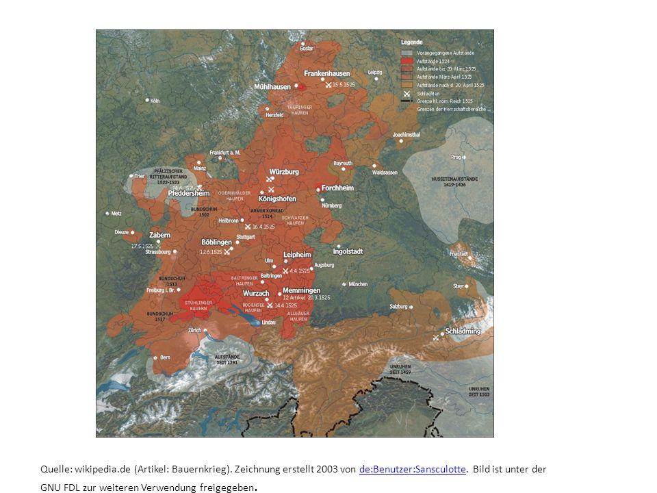 Quelle: wikipedia.de (Artikel: Bauernkrieg). Zeichnung erstellt 2003 von de:Benutzer:Sansculotte. Bild ist unter der GNU FDL zur weiteren Verwendung f